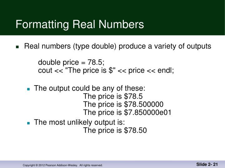 Formatting Real Numbers