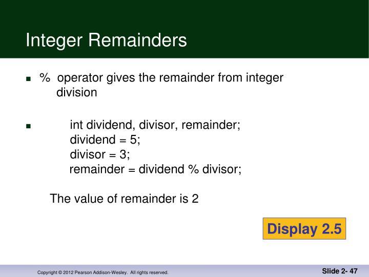 Integer Remainders
