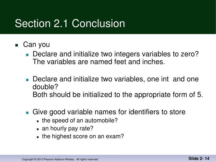 Section 2.1 Conclusion