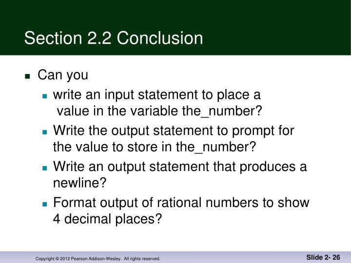 Section 2.2 Conclusion