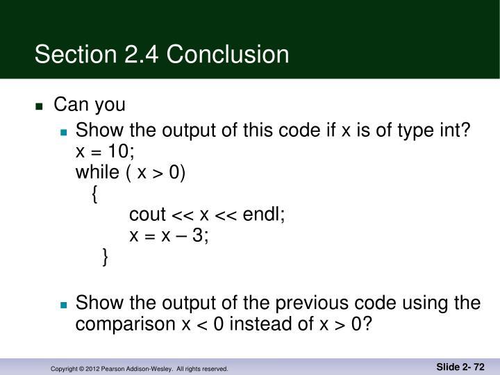Section 2.4 Conclusion
