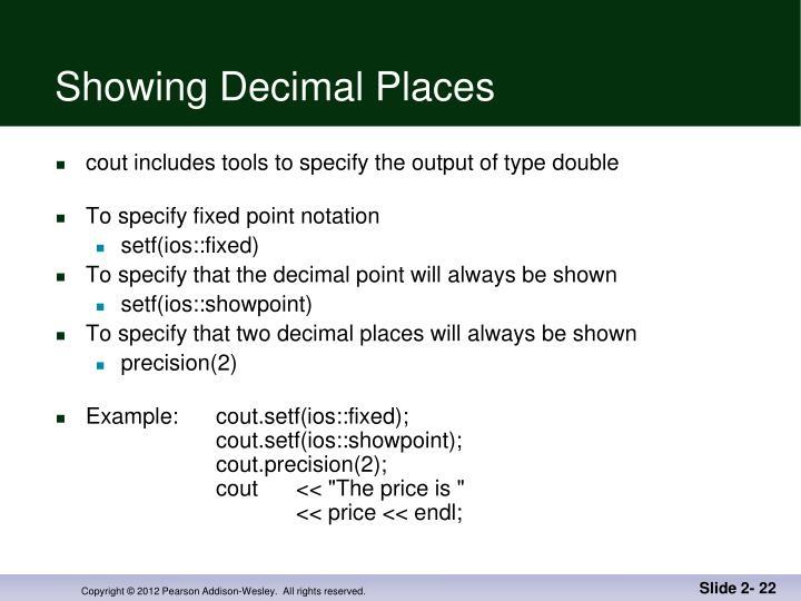 Showing Decimal Places
