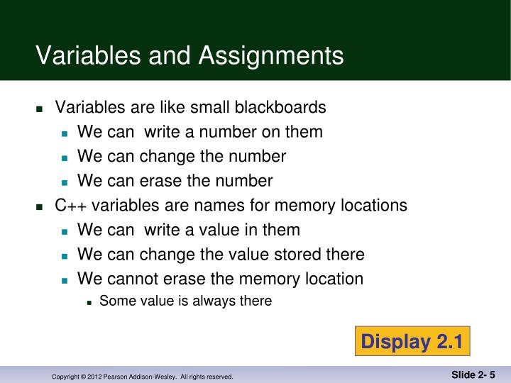 Variables and Assignments