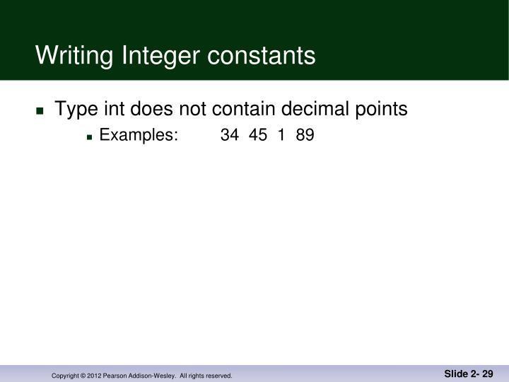 Writing Integer constants