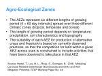 agro ecological zones