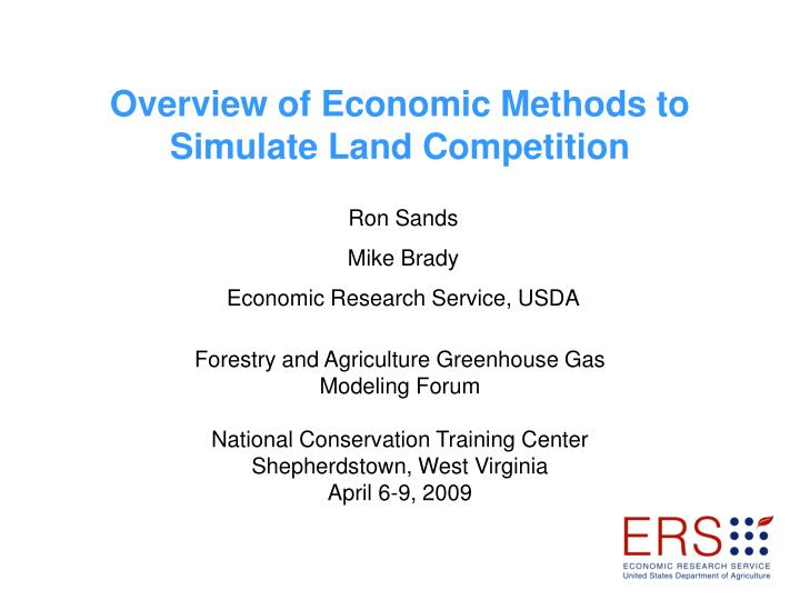 overview of economic methods to simulate land competition n.