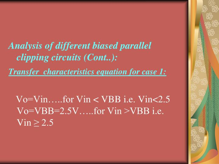 Analysis of different biased parallel clipping circuits (Cont..):