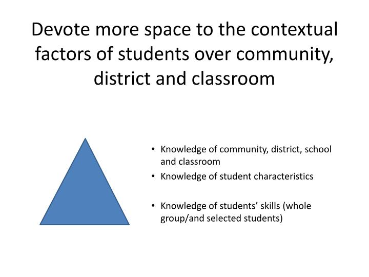 Devote more space to the contextual factors of students over community, district and classroom