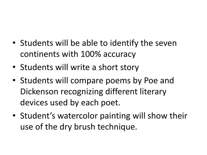 Students will be able to identify the seven continents with 100% accuracy