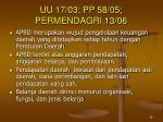 uu 17 03 pp 58 05 permendagri 13 06