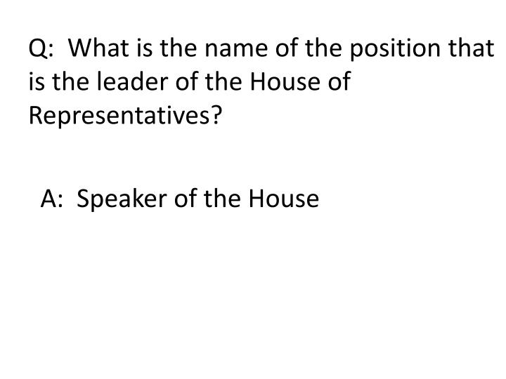 Q:  What is the name of the position that