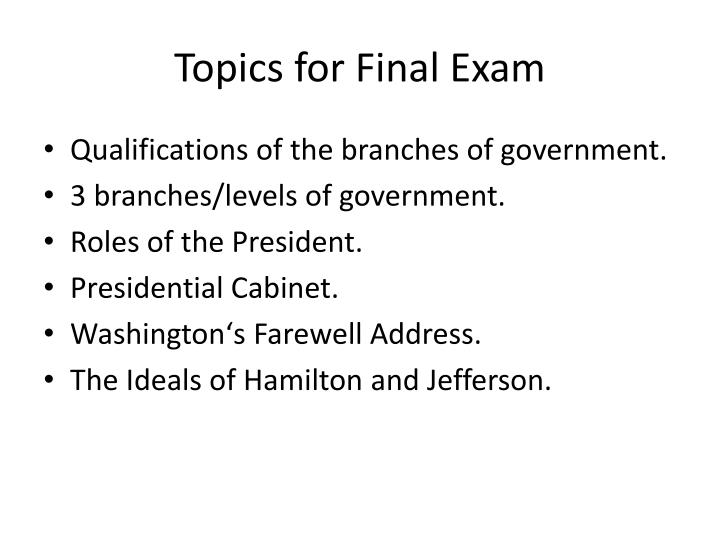 Topics for final exam