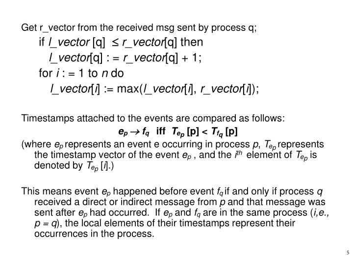 Get r_vector from the received msg sent by process q;