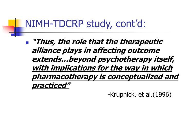 NIMH-TDCRP study, cont'd: