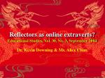 reflectors as online extraverts educational studies vol 30 no 3 september 2004