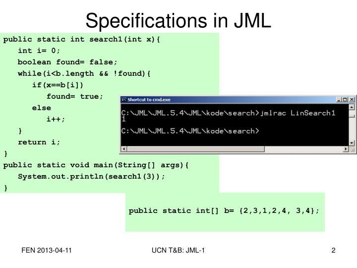 Specifications in jml1
