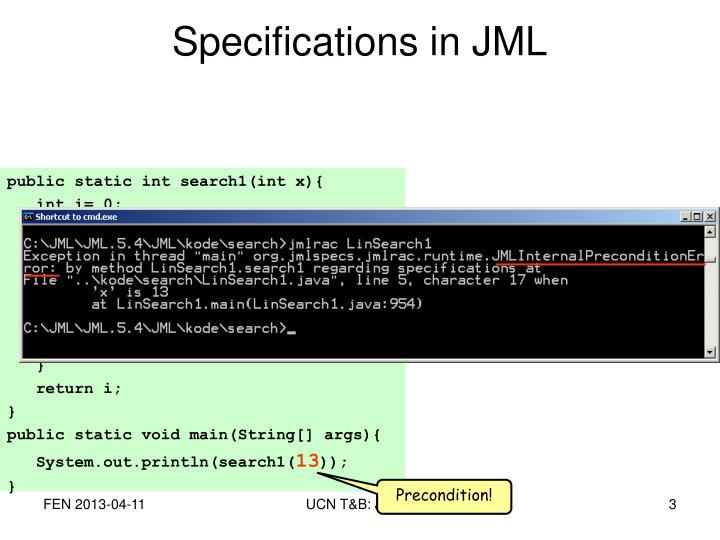 Specifications in jml2