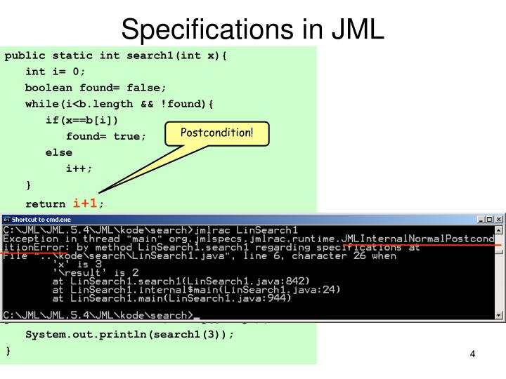 Specifications in JML