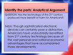 identify the parts analytical argument