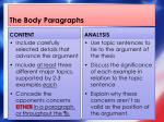 the body paragraphs