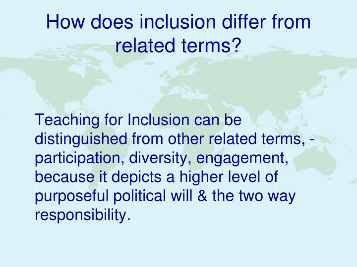 How does inclusion differ from related terms?