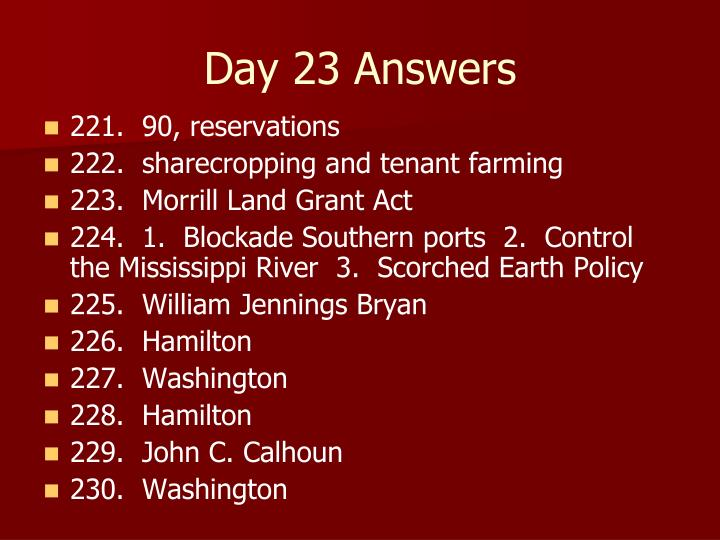 Day 23 Answers