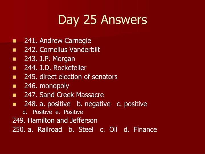Day 25 Answers