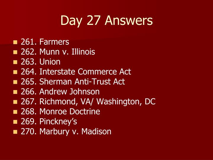 Day 27 Answers