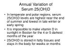annual variation of serum 25 oh d