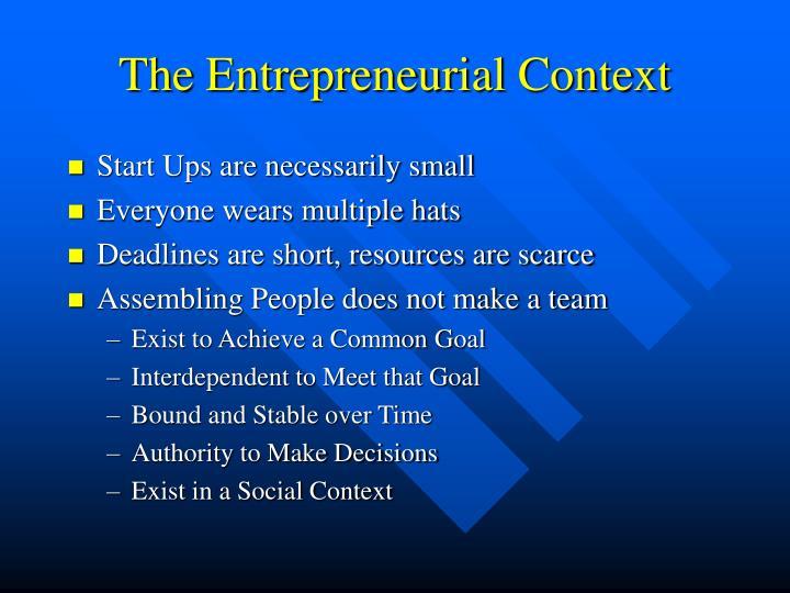 The entrepreneurial context