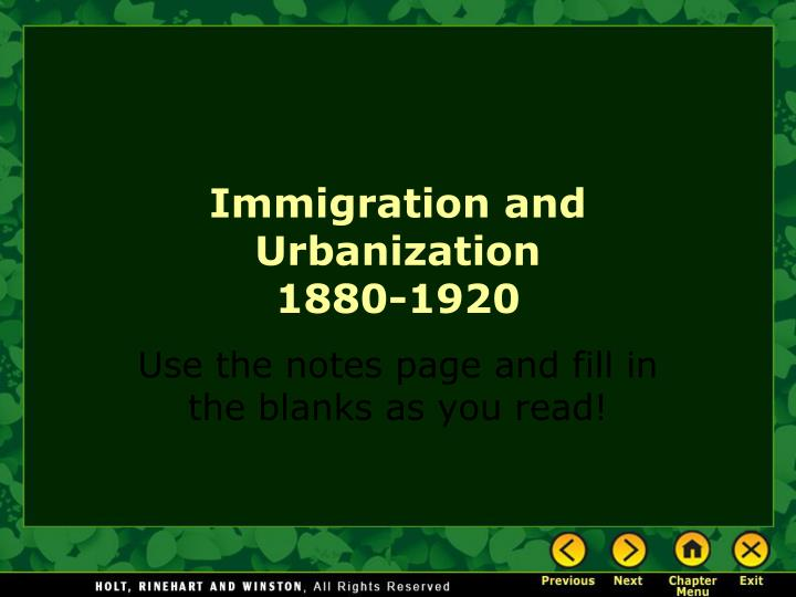 immigration and urbanization 1880 1920 n.