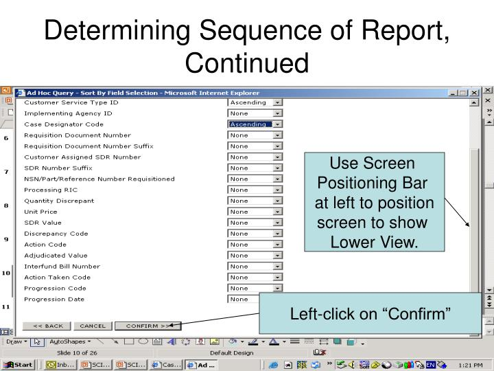 Determining Sequence of Report,