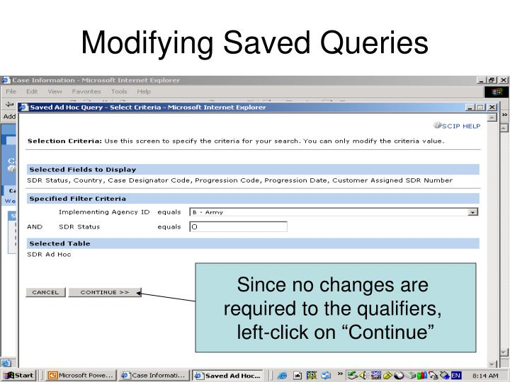 Modifying Saved Queries