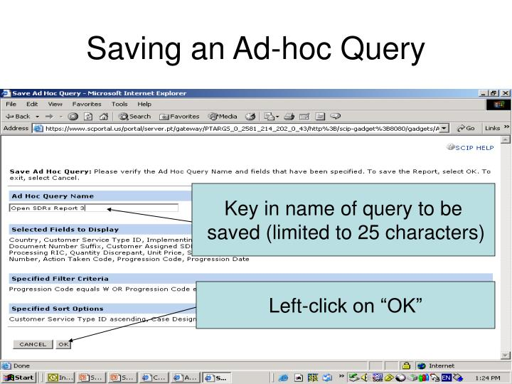 Saving an Ad-hoc Query