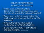 inquiry in mathematics learning and teaching1