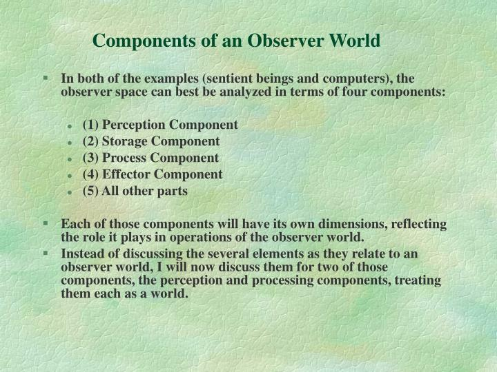 Components of an Observer World