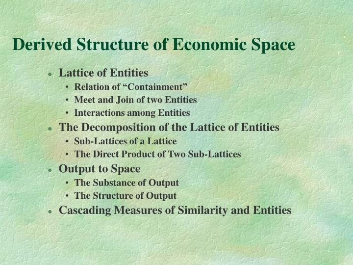 Derived Structure of Economic Space