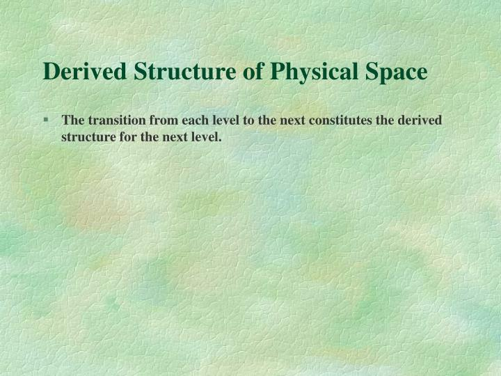 Derived Structure of Physical Space