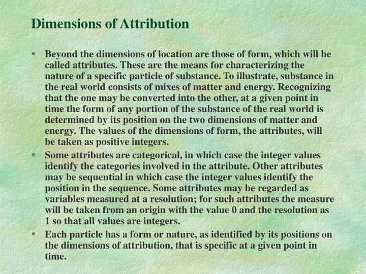 Dimensions of Attribution
