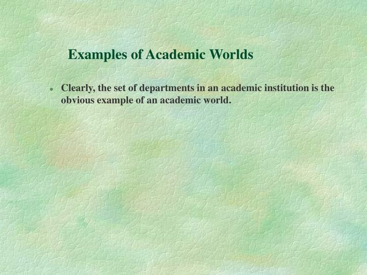 Examples of Academic Worlds