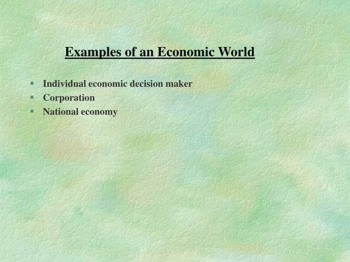Examples of an Economic World