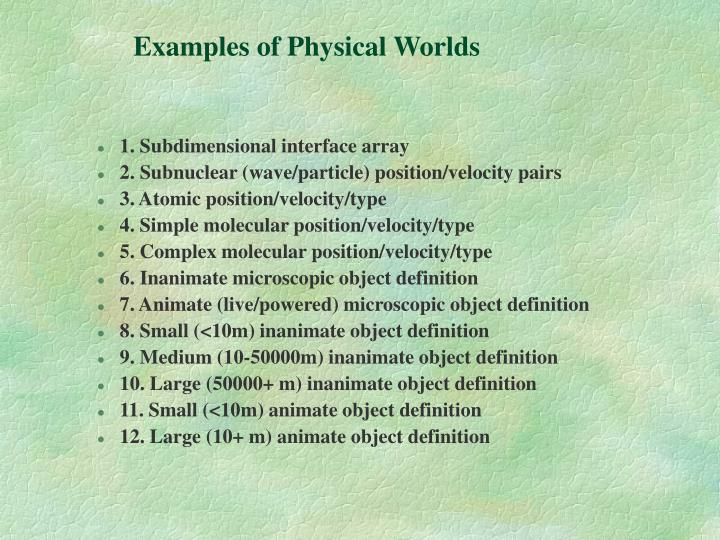 Examples of Physical Worlds