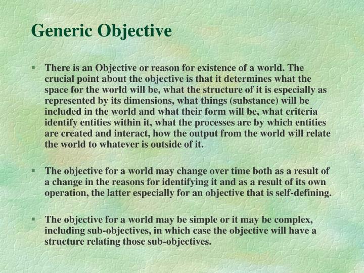 Generic Objective