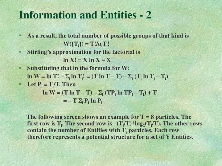 Information and Entities - 2
