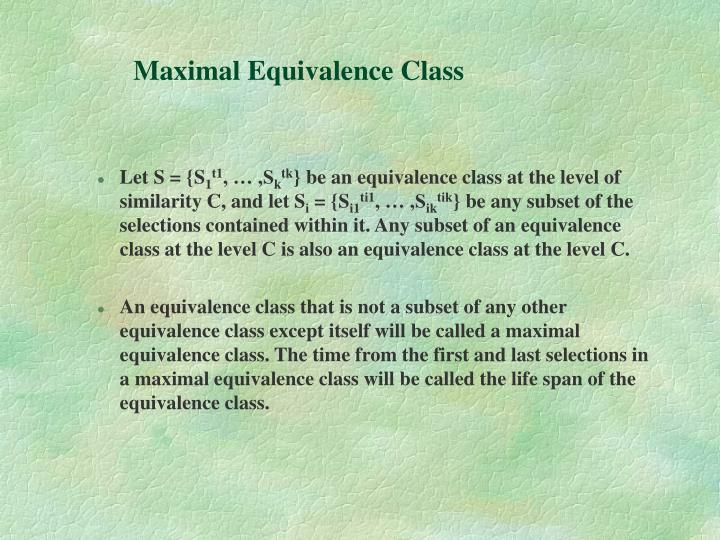 Maximal Equivalence Class