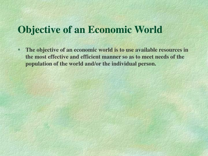 Objective of an Economic World