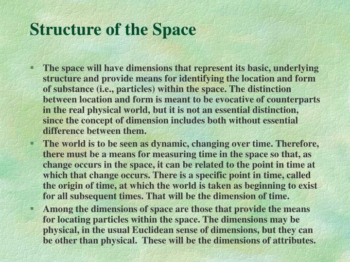 Structure of the Space