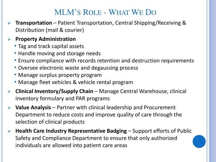 Mlm s role what we do