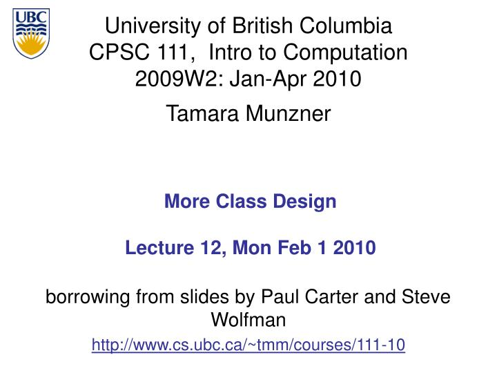 more class design lecture 12 mon feb 1 2010 n.