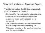 diary card analyses progress report